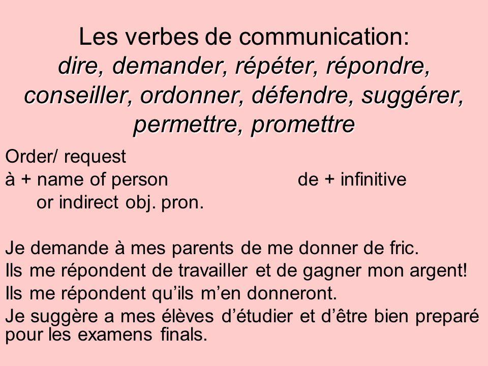 Les verbes de communication: dire, demander, répéter, répondre, conseiller, ordonner, défendre, suggérer, permettre, promettre