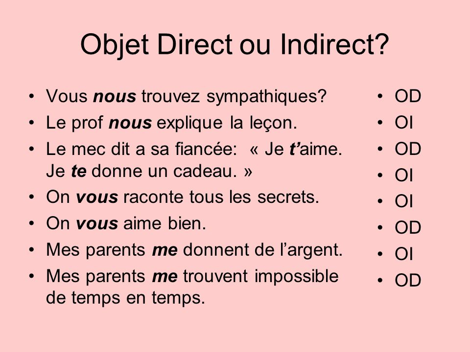 Objet Direct ou Indirect
