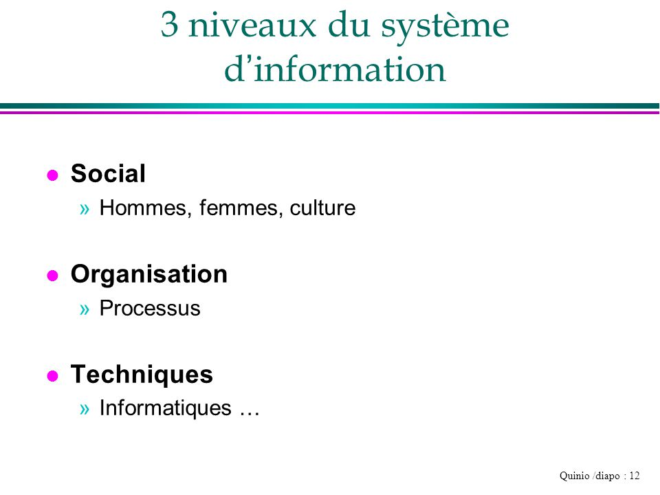 3 niveaux du système d'information