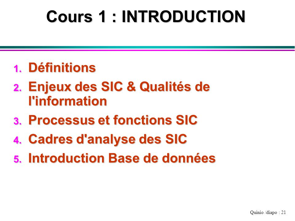 Cours 1 : INTRODUCTION Définitions