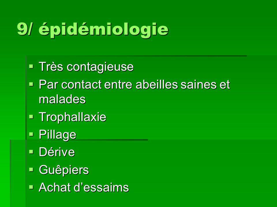 9/ épidémiologie Très contagieuse