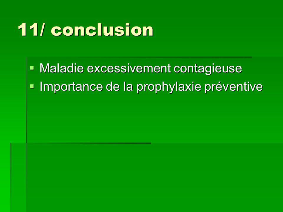 11/ conclusion Maladie excessivement contagieuse
