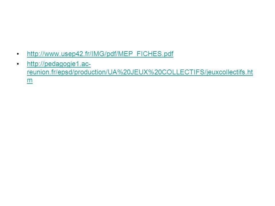 http://www.usep42.fr/IMG/pdf/MEP_FICHES.pdf http://pedagogie1.ac-reunion.fr/epsd/production/UA%20JEUX%20COLLECTIFS/jeuxcollectifs.htm.
