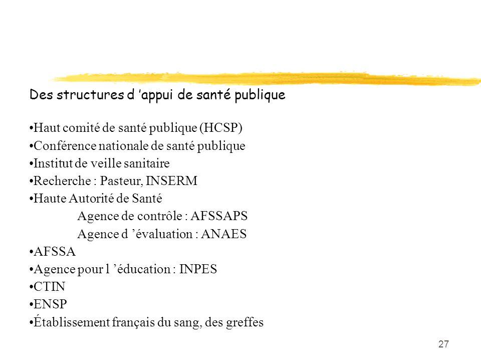 Des structures d 'appui de santé publique