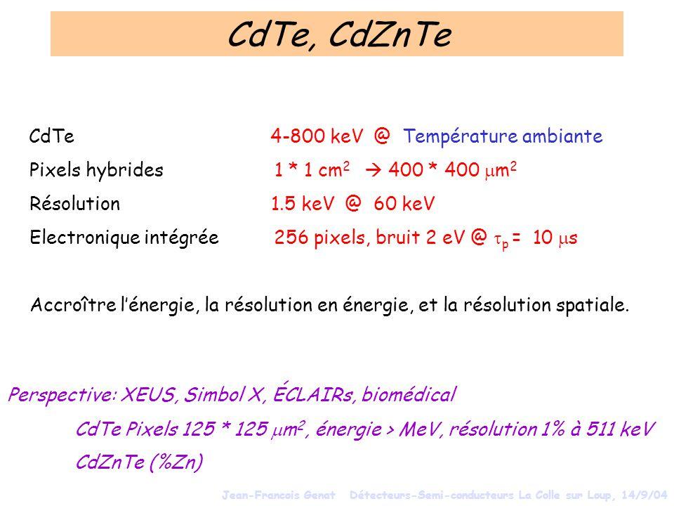 CdTe, CdZnTe Pixels hybrides 1 * 1 cm2  400 * 400 mm2