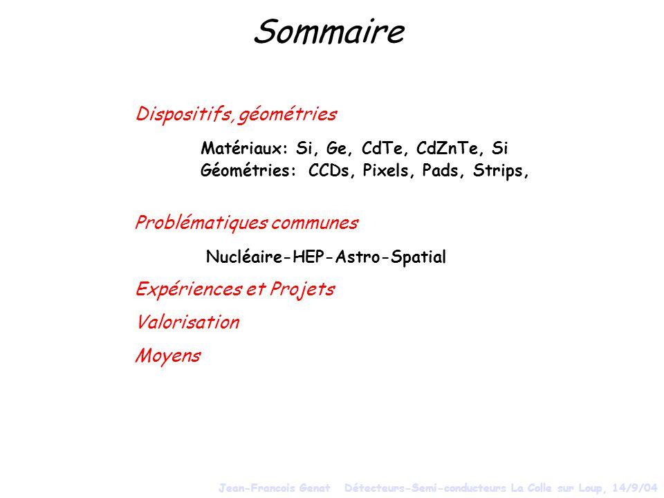 Sommaire Dispositifs, géométries Problématiques communes