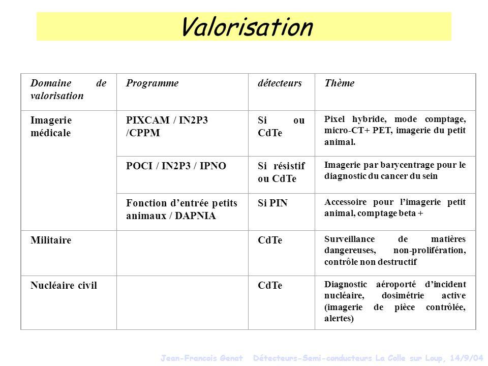 Valorisation Domaine de valorisation Programme détecteurs Thème
