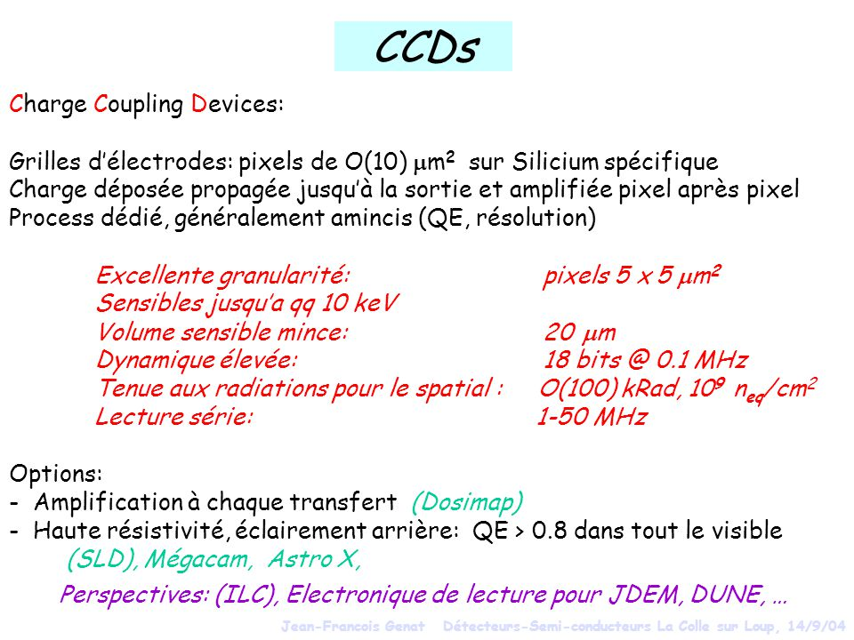 CCDs Charge Coupling Devices: