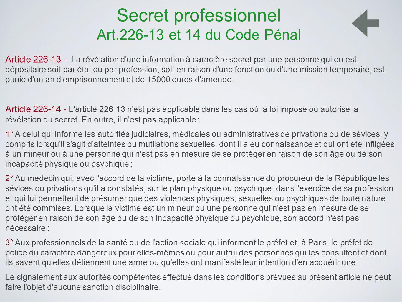 Secret professionnel Art.226-13 et 14 du Code Pénal