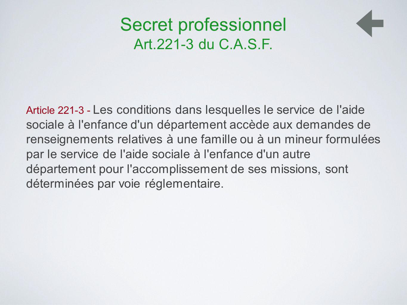 Secret professionnel Art.221-3 du C.A.S.F.