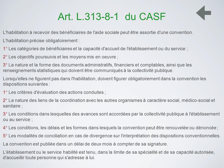Art. L.313-8-1 du CASF L habilitation à recevoir des bénéficiaires de l aide sociale peut être assortie d une convention.