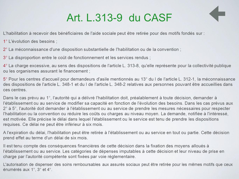 Art. L.313-9 du CASF L habilitation à recevoir des bénéficiaires de l aide sociale peut être retirée pour des motifs fondés sur :