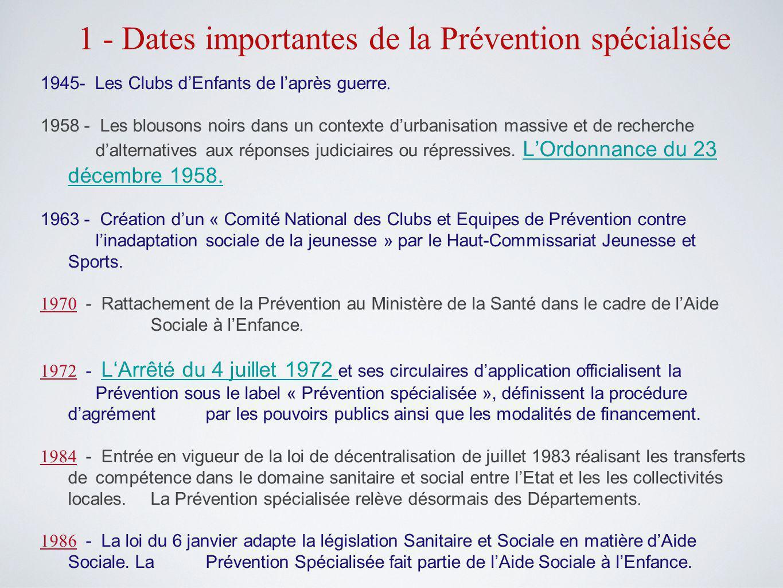 1 - Dates importantes de la Prévention spécialisée