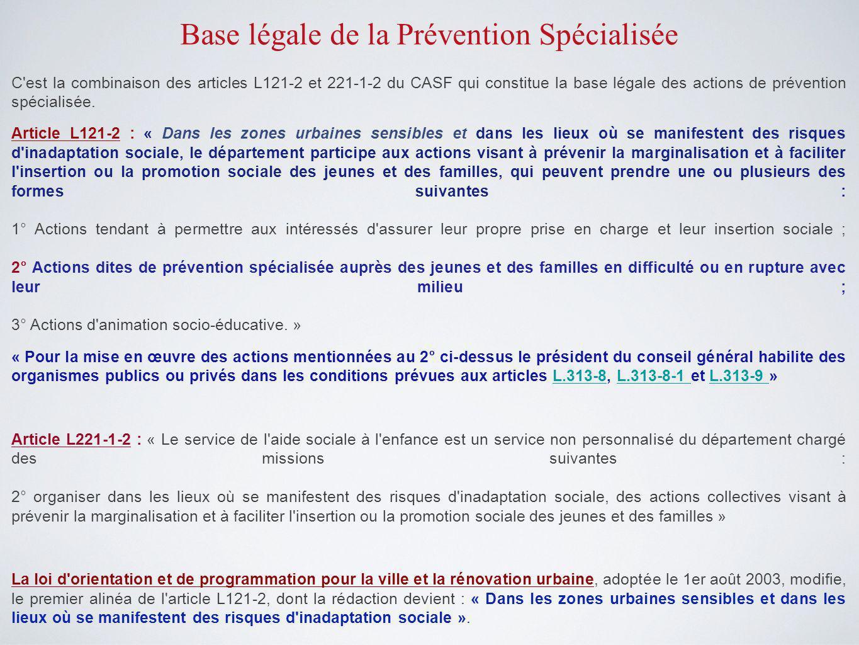 Base légale de la Prévention Spécialisée