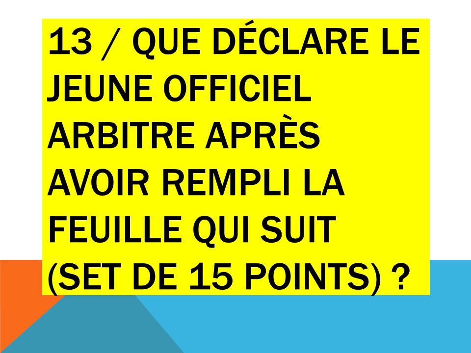 13 / que déclare le jeune officiel arbitre après avoir rempli la feuille qui suit (set de 15 points)