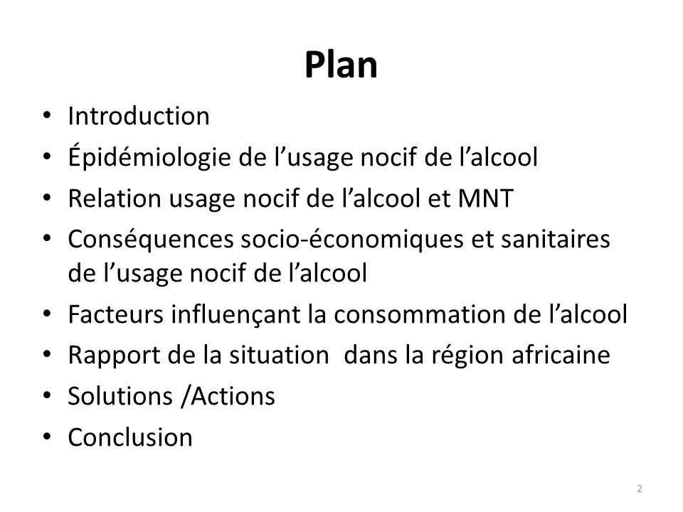Plan Introduction Épidémiologie de l'usage nocif de l'alcool