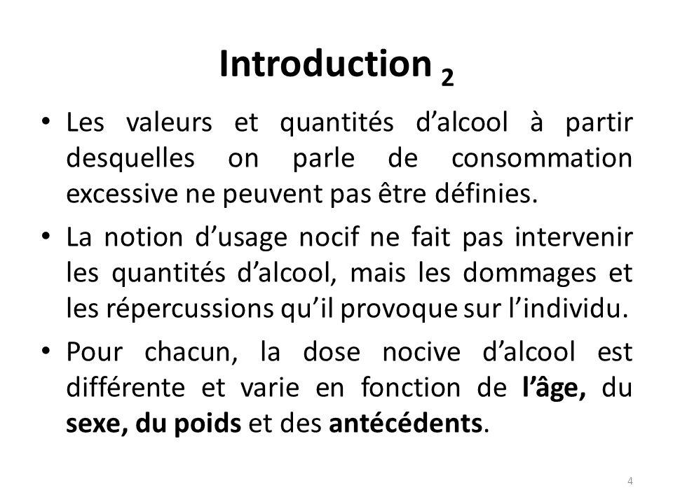 Introduction 2 Les valeurs et quantités d'alcool à partir desquelles on parle de consommation excessive ne peuvent pas être définies.