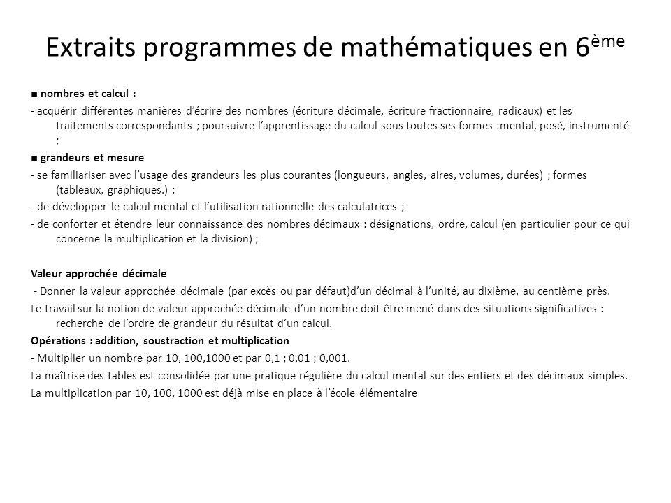 Extraits programmes de mathématiques en 6ème