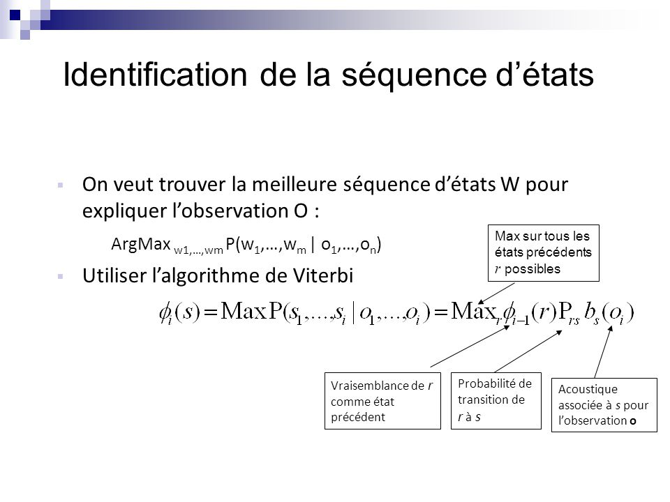 Identification de la séquence d'états