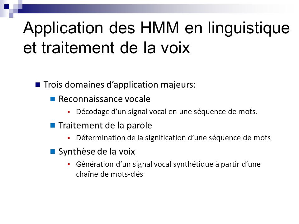 Application des HMM en linguistique et traitement de la voix