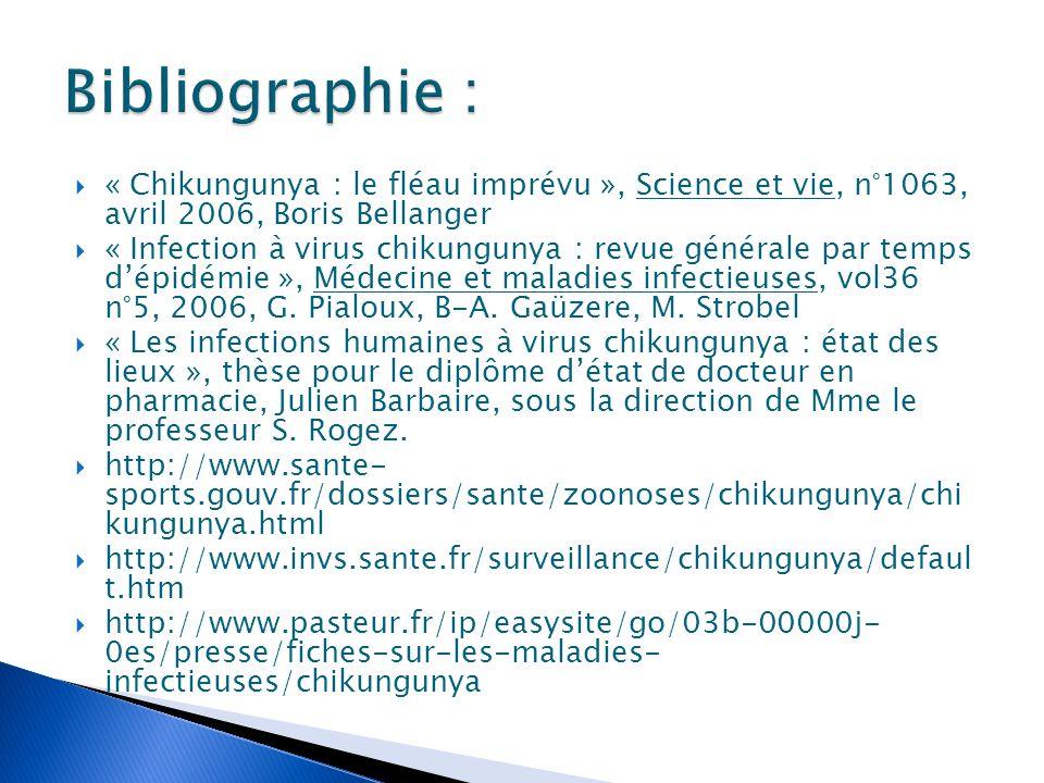Bibliographie : « Chikungunya : le fléau imprévu », Science et vie, n°1063, avril 2006, Boris Bellanger.