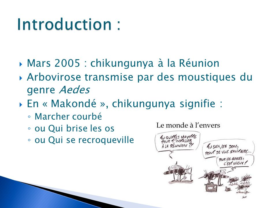 Introduction : Mars 2005 : chikungunya à la Réunion