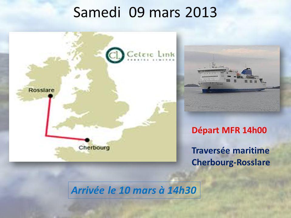 Samedi 09 mars 2013 Arrivée le 10 mars à 14h30 Départ MFR 14h00