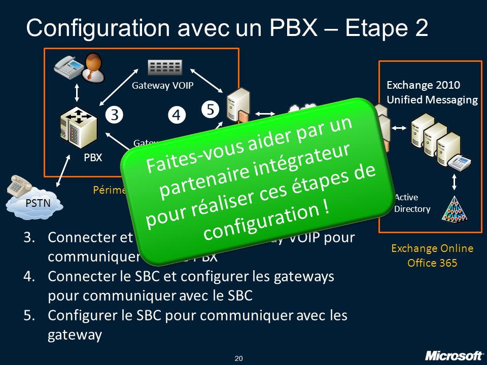 Configuration avec un PBX – Etape 2