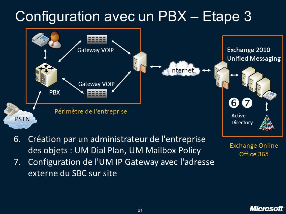 Configuration avec un PBX – Etape 3