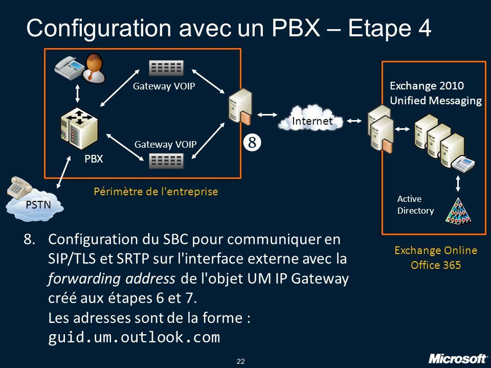 Configuration avec un PBX – Etape 4