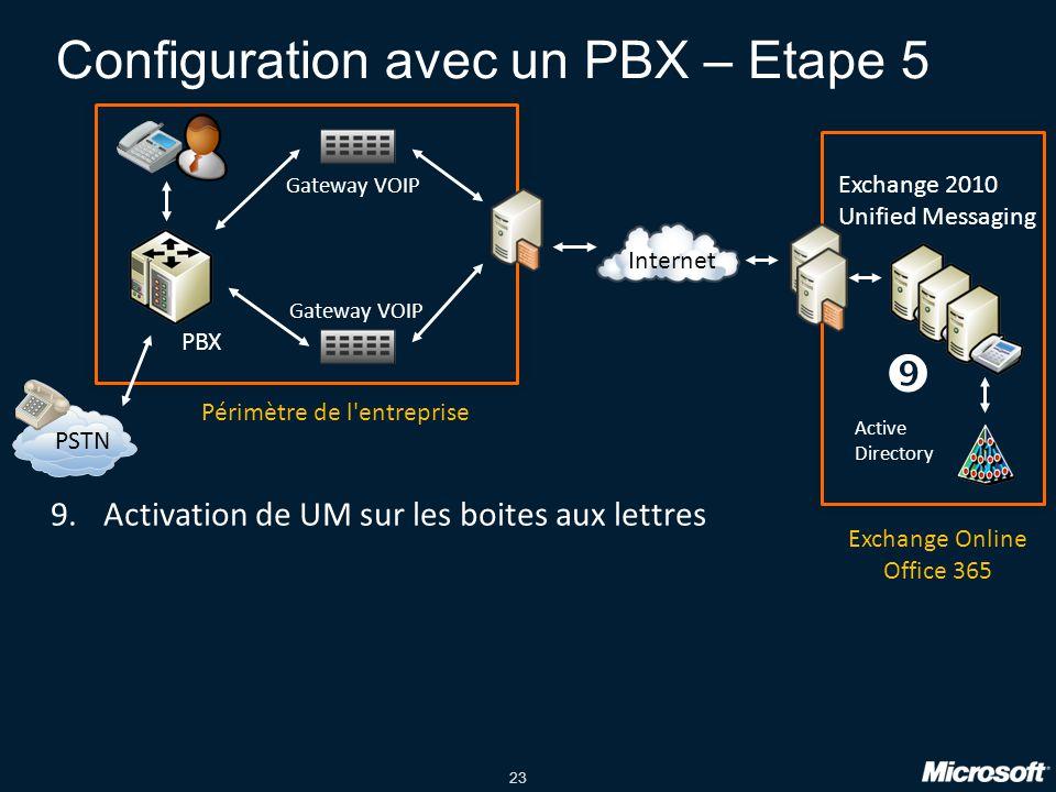 Configuration avec un PBX – Etape 5