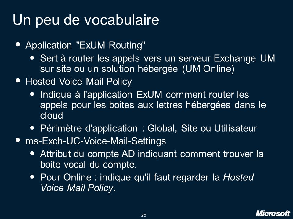 Un peu de vocabulaire Application ExUM Routing