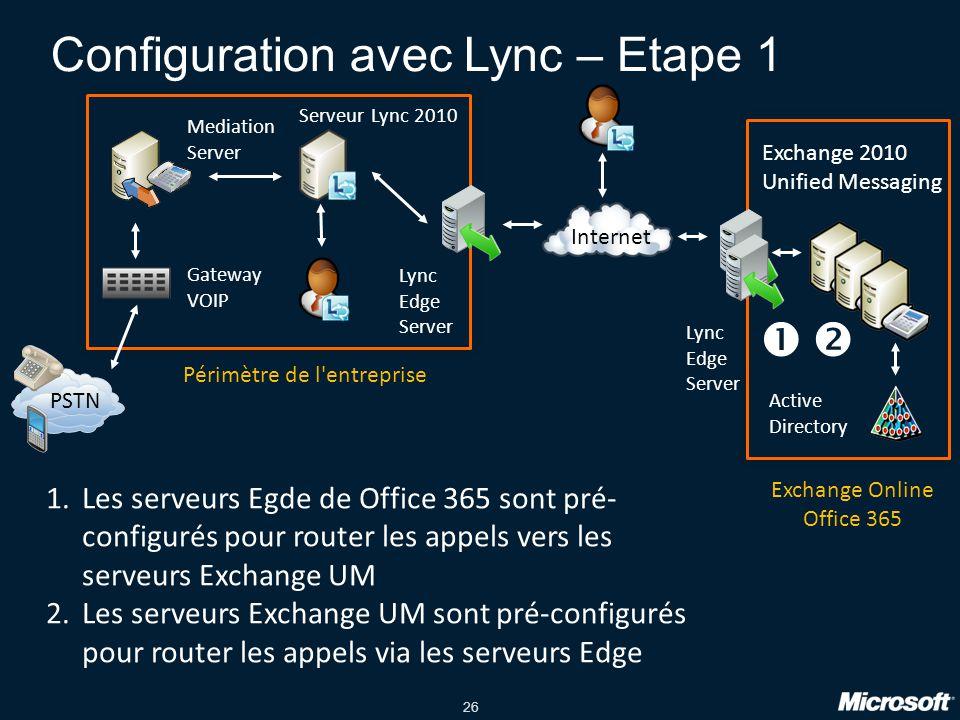 Configuration avec Lync – Etape 1