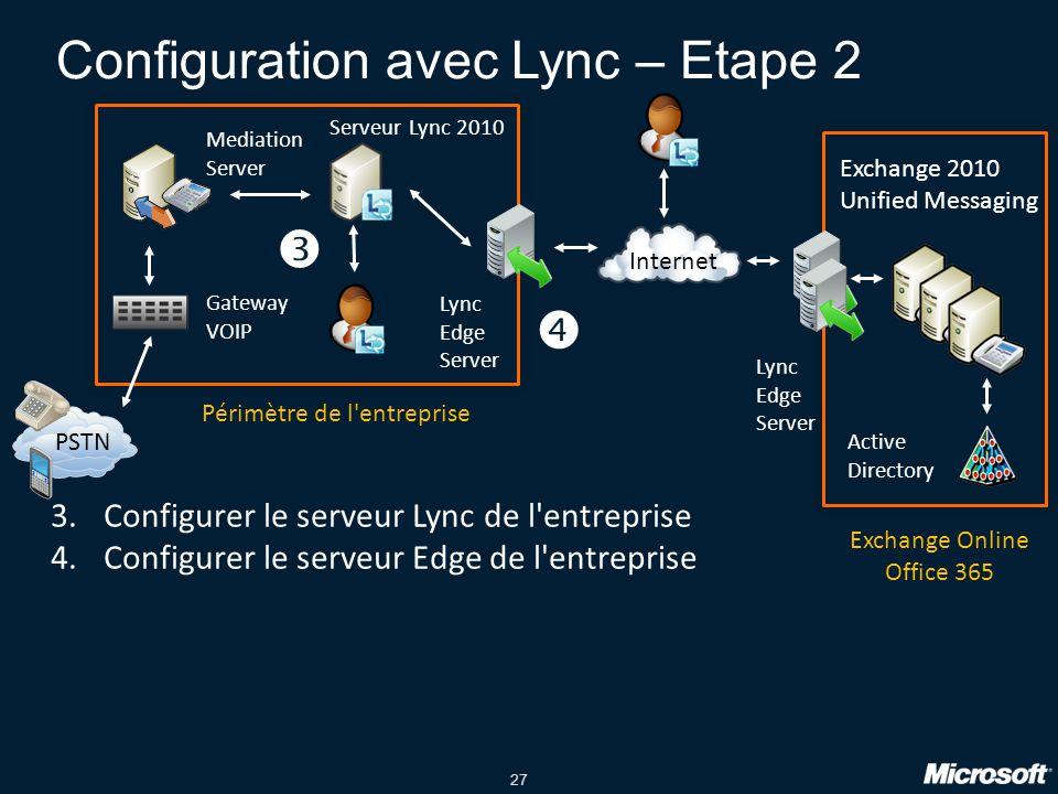 Configuration avec Lync – Etape 2