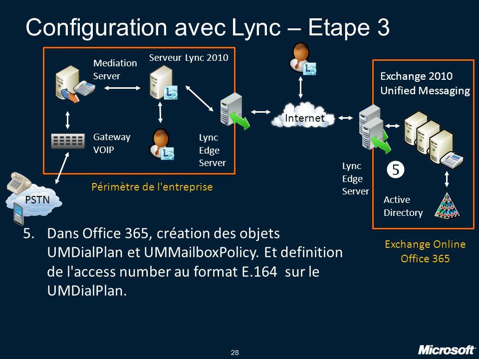 Configuration avec Lync – Etape 3