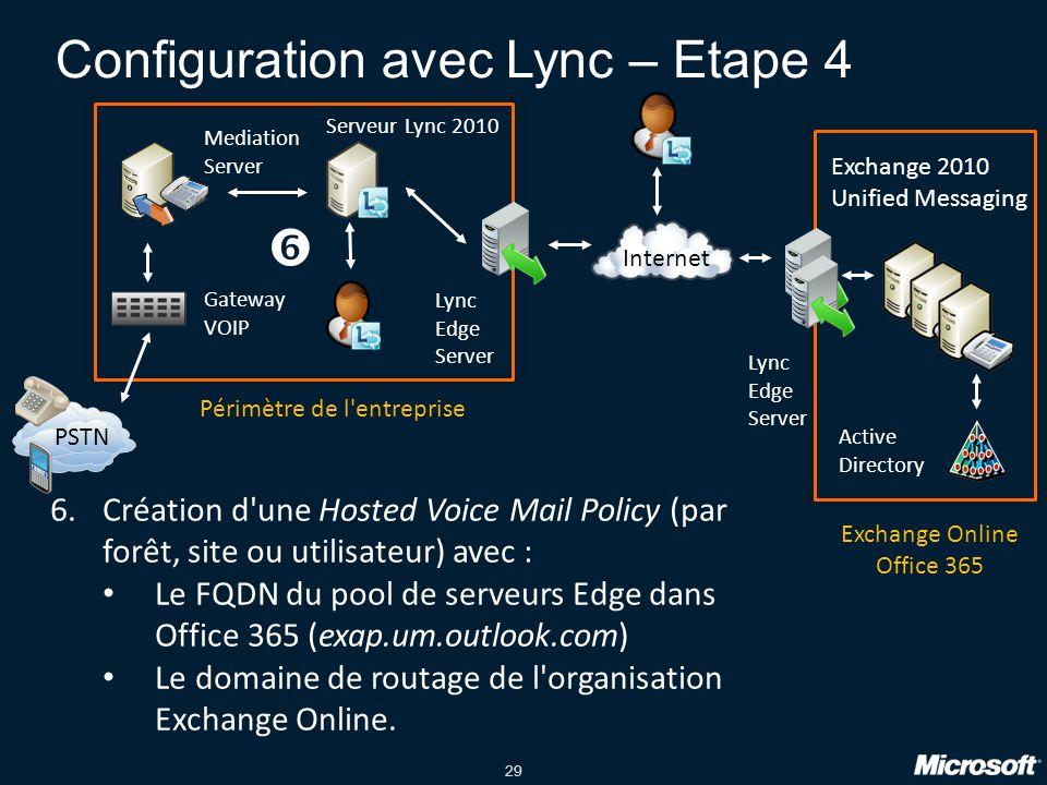 Configuration avec Lync – Etape 4