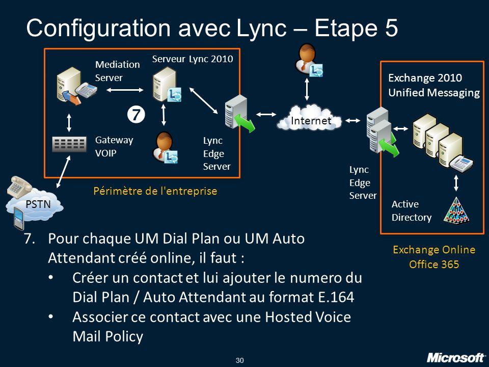 Configuration avec Lync – Etape 5