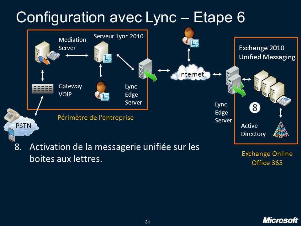 Configuration avec Lync – Etape 6
