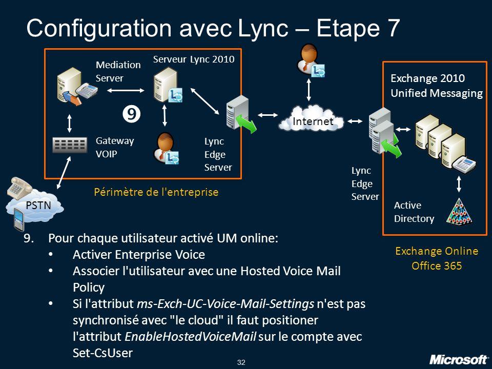 Configuration avec Lync – Etape 7