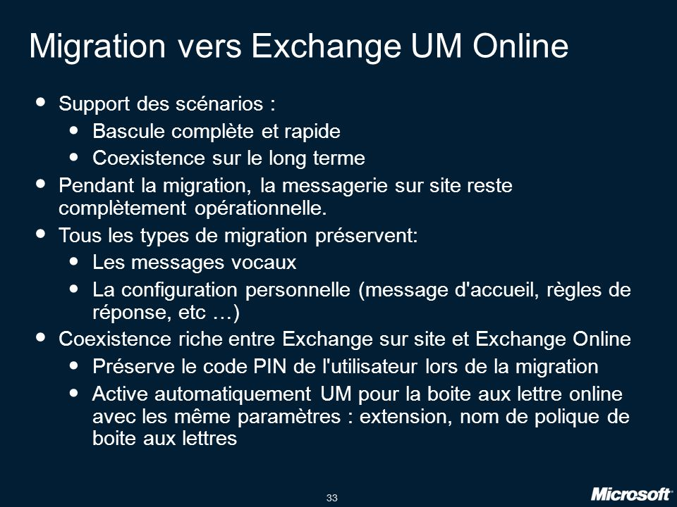 Migration vers Exchange UM Online