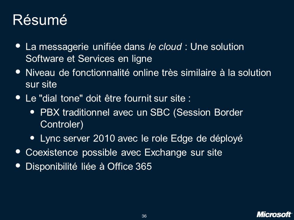 Résumé La messagerie unifiée dans le cloud : Une solution Software et Services en ligne.