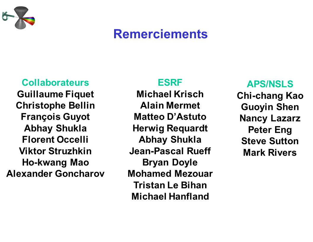 Remerciements Collaborateurs Guillaume Fiquet Christophe Bellin