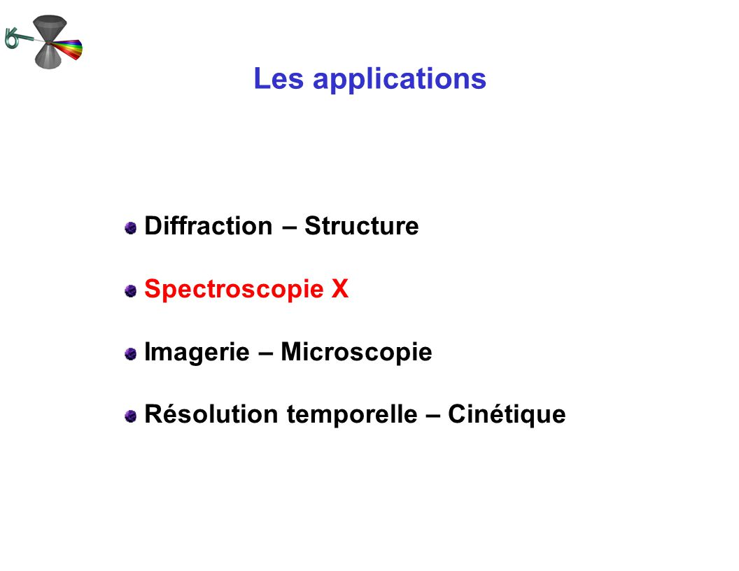Les applications Diffraction – Structure Spectroscopie X