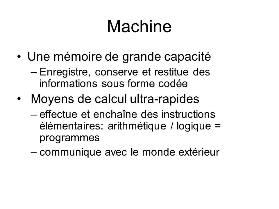 Machine Une mémoire de grande capacité Moyens de calcul ultra-rapides