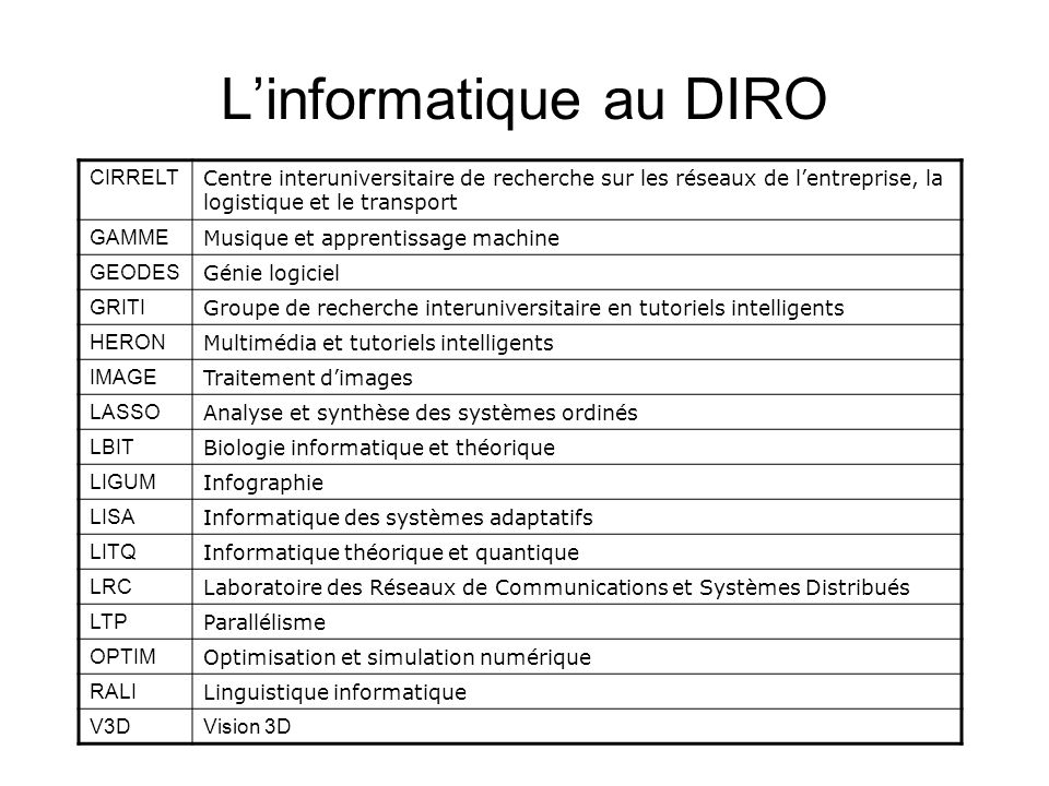 L'informatique au DIRO