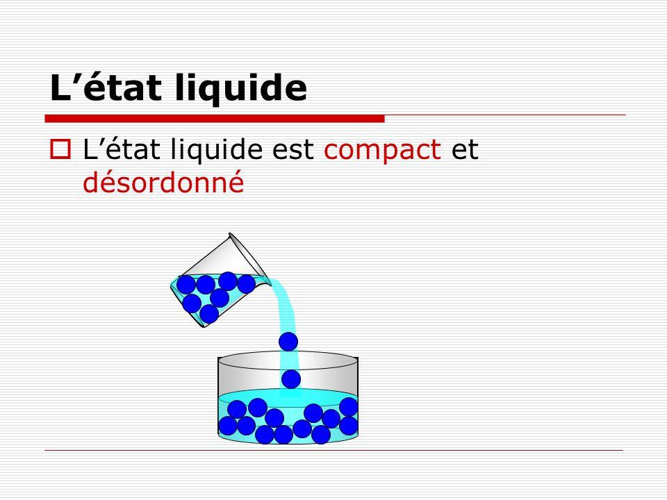 L'état liquide L'état liquide est compact et désordonné