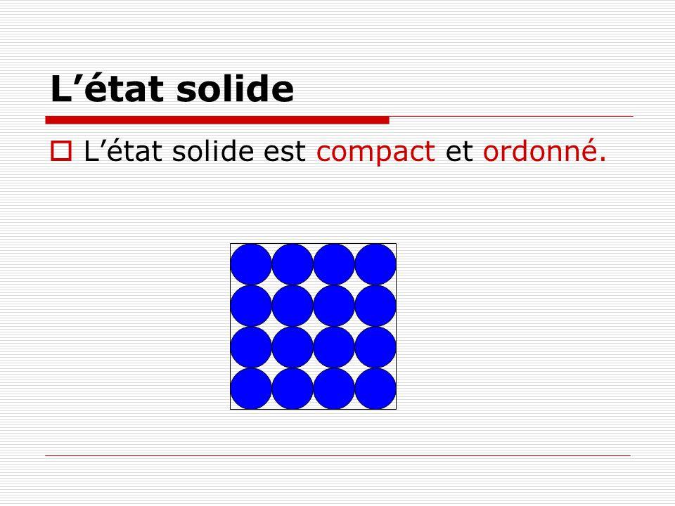 L'état solide L'état solide est compact et ordonné.