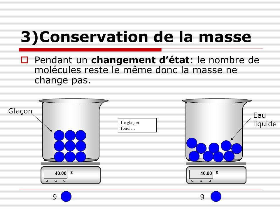 3)Conservation de la masse