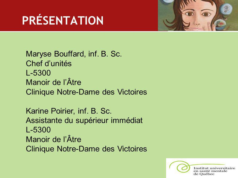 PRÉSENTATION Maryse Bouffard, inf. B. Sc. Chef d'unités L-5300