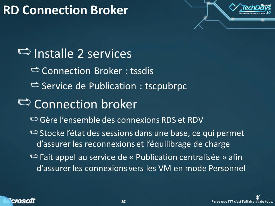 RD Connection Broker Installe 2 services Connection broker